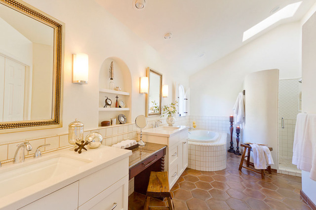 Arizona Tile Tempe Bathroom Traditional with Double Sinks Dressing Table