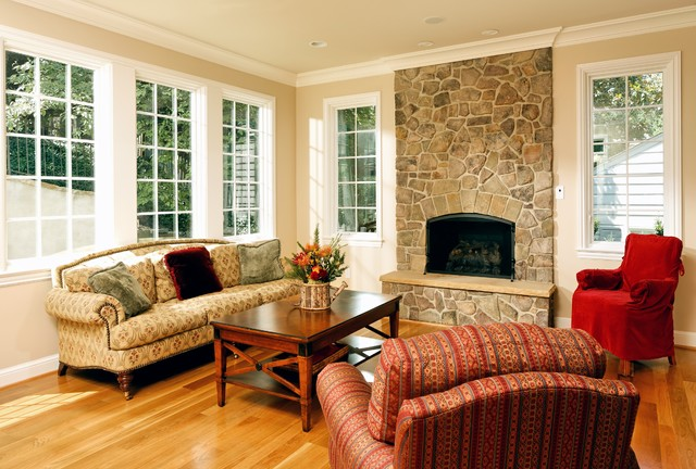 Armchair Slipcovers Living Room Traditional with Fieldstone Fireplace Hardwood Floor
