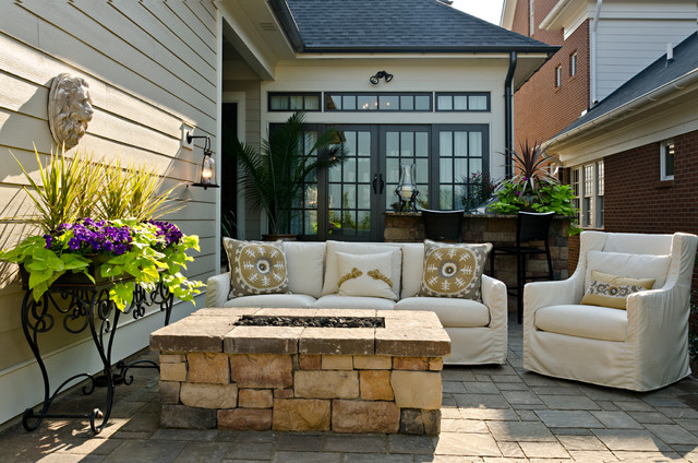 Armchair Slipcovers Patio Traditional with Bar Area Firepit Homearama