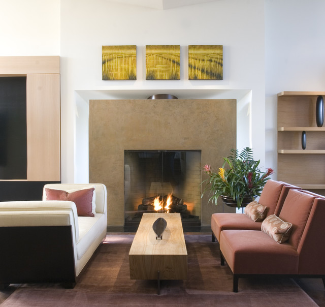 armless chair Family Room Contemporary with area rug bookcase bookshelves