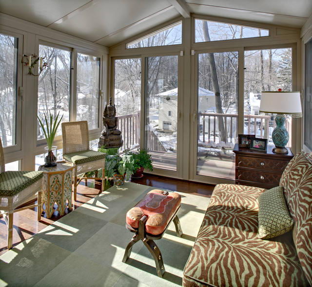 Armless Loveseat Sunroom Eclectic with All Season Room Camel