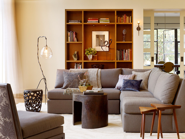 Armless Sofa Living Room Modern with Bookshelf Glass Pocket Doors