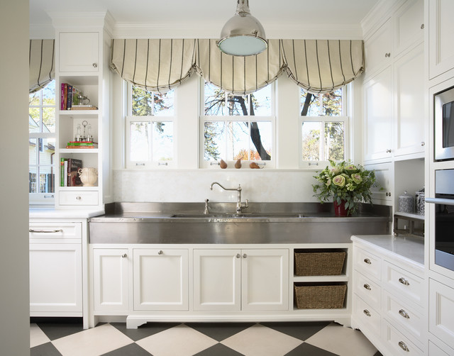 Armstrong Alterna Kitchen Traditional with Balloon Shades Black And