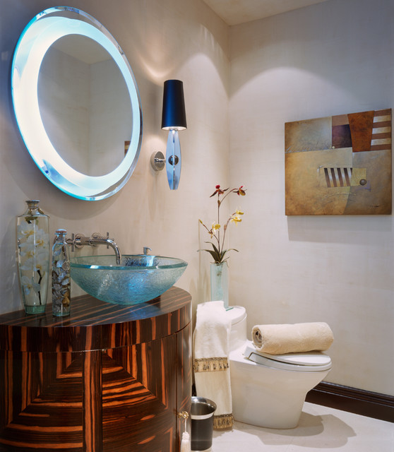 Armstrong Alterna Powder Room Contemporary with Art Deco Custom Vanity