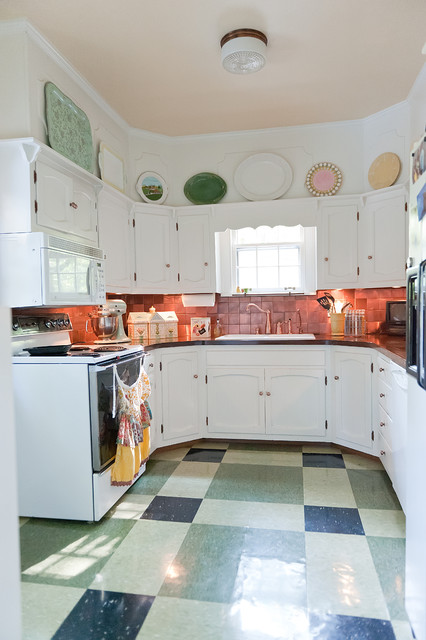 Armstrong Vct Kitchen Shabby Chic with Copper Backsplash Green Laminate