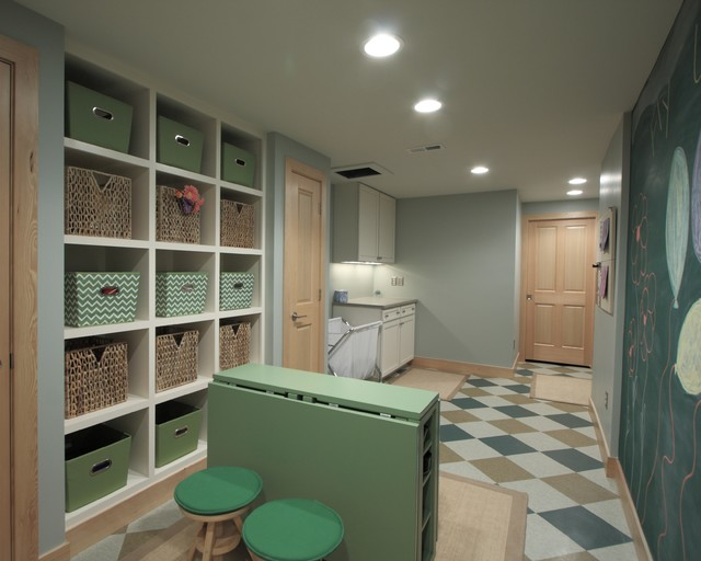armstrong vct Laundry Room Traditional with baseboards basement basket built-in