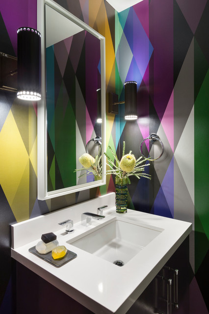 Arteriors Home Powder Room Contemporary with Colorful Flowers Geometric Wallpaper