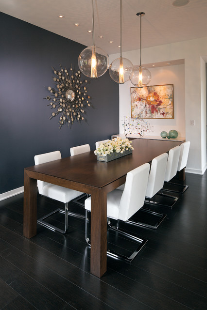 Arteriors Lighting Dining Room Contemporary with Bamboo Flooring Cantilever Chairs