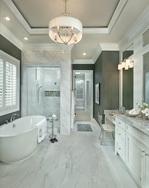 Arthur Rutenberg Homes Bathroom Transitional with Carerra Chandelier Drum Chandelier