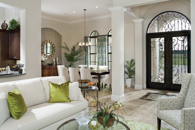 Arthur Rutenberg Homes Entry Mediterranean with Beige Walls Columns Double