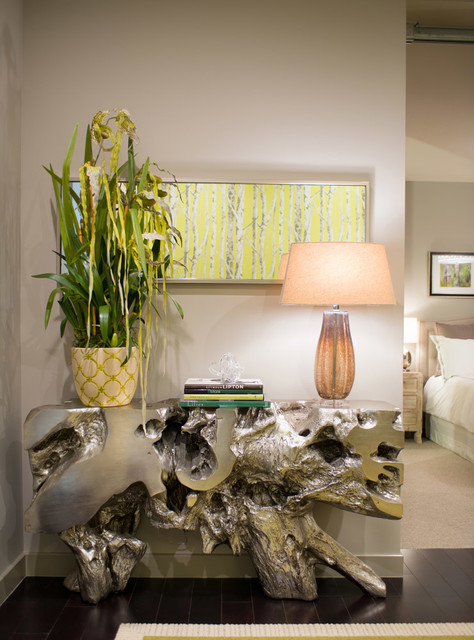 Artificial Orchids Entry Contemporary with Console Table Lamp Loft