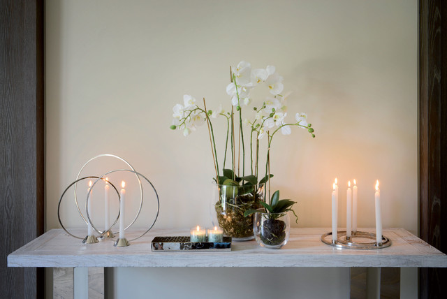 Artificial Orchids Spaces with Candles Mantel Decor Mantel