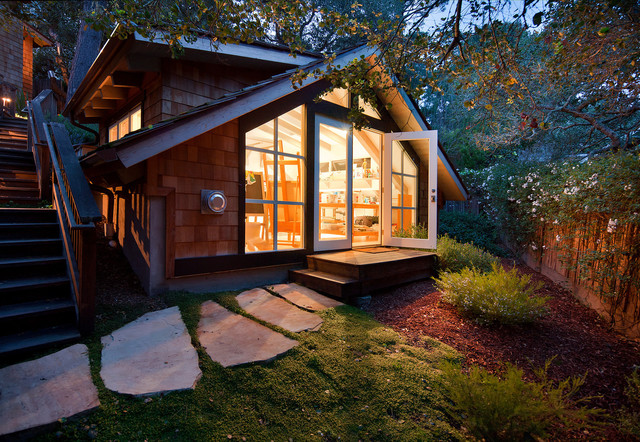 Artistic Pavers Garage and Shed Contemporary with Artist Backyard French Doors