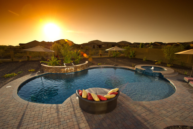artistic pavers Pool Eclectic with curved pool garden seating
