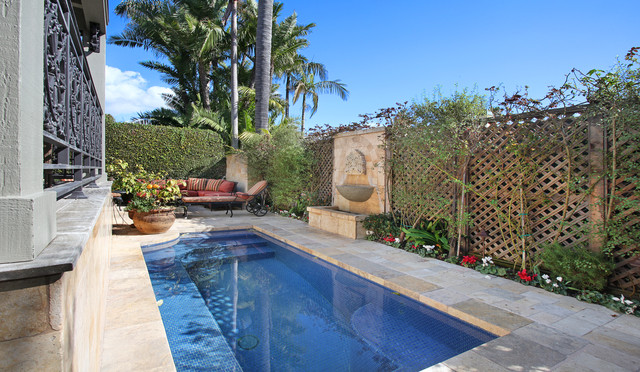 Artistic Pavers Pool Mediterranean with Antique Fountain Antique Limestone