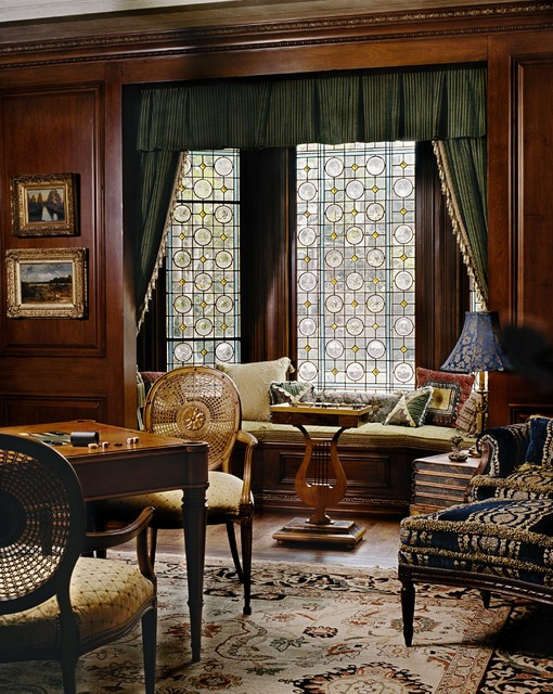 artscape window film Family Room Victorian with caned chair carpet chair