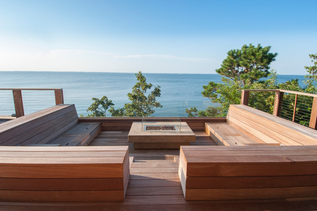 Backyard Fire Pit Ideas Deck Contemporary with Bench Storage Built in Benches