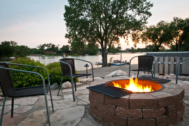 Backyard Fire Pit Ideas Landscape Contemporary with Beach Dock Fence Firepit
