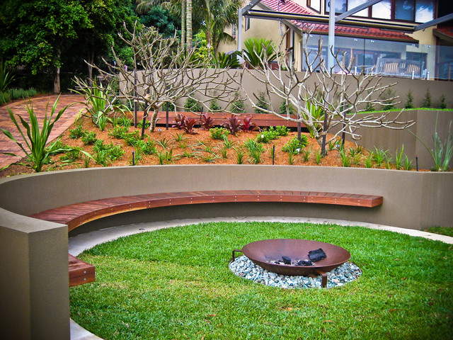 Backyard Fire Pit Ideas Landscape Contemporary with Contemporary Landscape Curved Seating