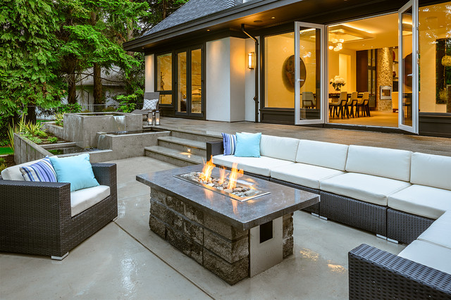 Backyard Fire Pit Ideas Patio Contemporary with Backyard Water Feature Beige