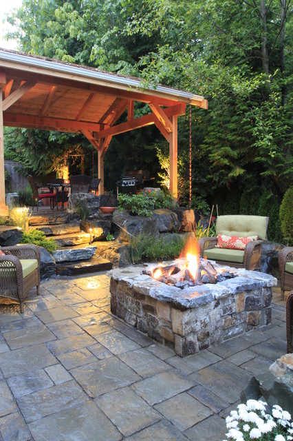 Backyard Fire Pit Ideas Patio Traditional with Covered Patio Fire Pit