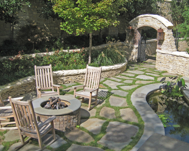 backyard fire pit ideas Patio Traditional with fire pit flagstone grass
