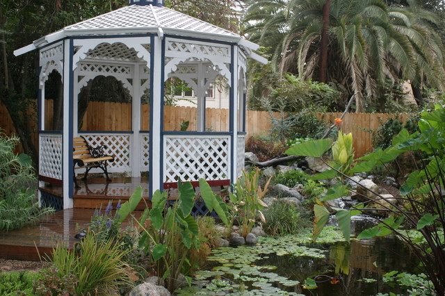 Backyard Gazebo Landscape Traditional with Aquatic Garden Bench Deck
