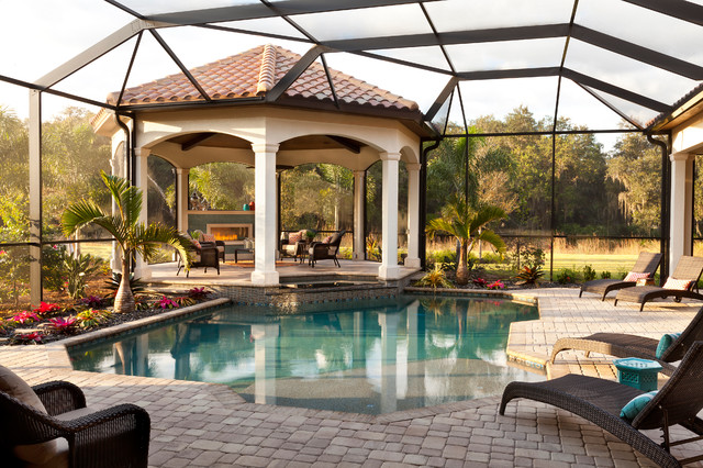 Backyard Gazebo Patio Mediterranean with Beautiful Pools Bonus Room