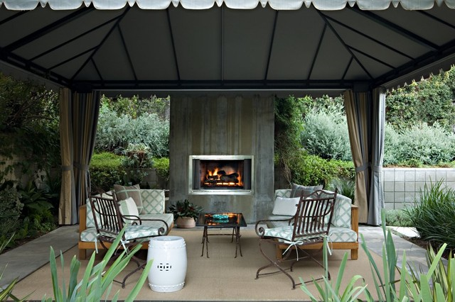Backyard Gazebo Patio Transitional with Area Rug Concrete Fireplace