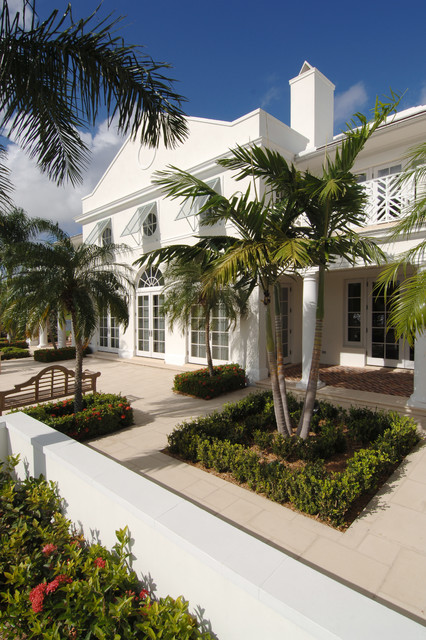 Bahama Shutters Exterior Tropical with Awnings Balcony Bench Seat