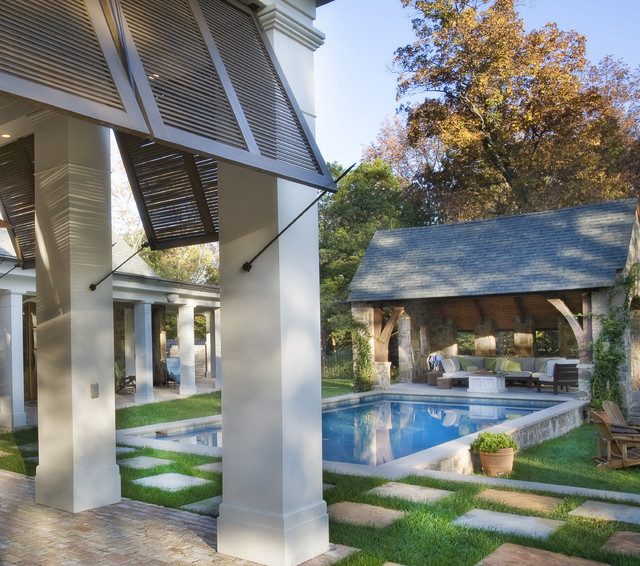 Bahama Shutters Pool Traditional with Covered Patio Lawn Outdoor
