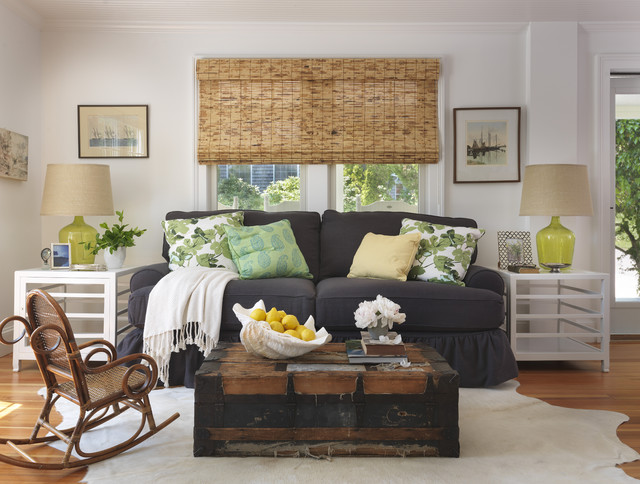 Bamboo Blinds Ikea Living Room Beach with Antique Trunk Beach Cottage