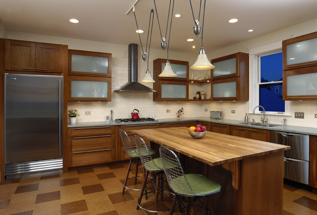 Bamboo Countertops Kitchen Contemporary with Adjustable Light Fixture Bamboo1