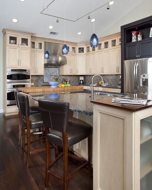 Bamboo Countertops Kitchen Traditional with Bamboo Countertops Black Cabinets1