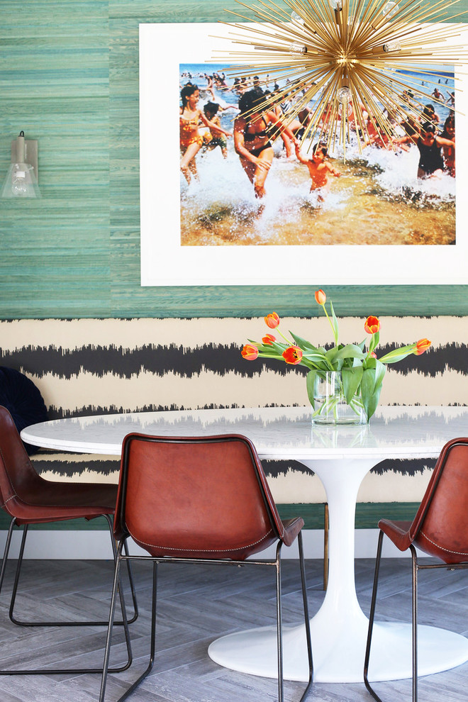Banquette Seating Dining Room Midcentury with Airy Bright Built In