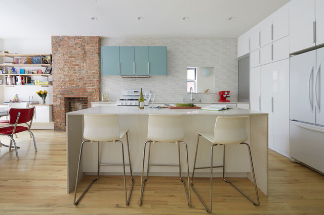 bar stools ikea Kitchen Midcentury with BROOKLYN Brooklyn Townhouse colorful