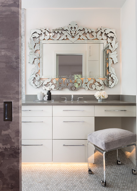 baroque mirror Bathroom Contemporary with gray countertop mirror framed