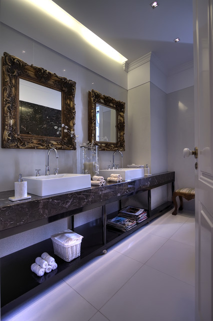 Baroque Mirror Bathroom Eclectic with Cove Lighting Crown Molding