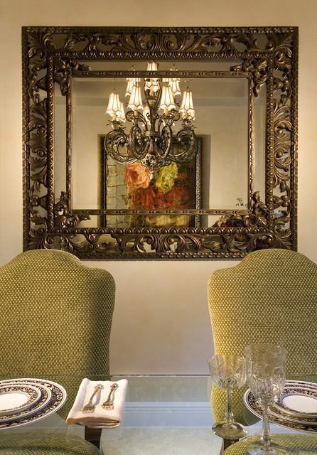 baroque mirror Dining Room Traditional with architectural chandelier china crystal