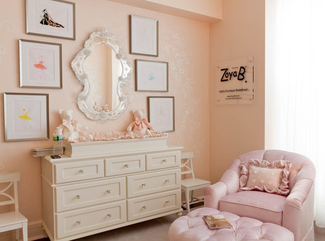 Baroque Mirror Nursery Shabby Chic with Changing Table Chest Of