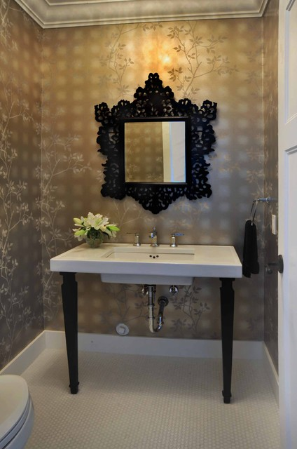 Baroque Mirror Powder Room Victorian with Baseboards Bathroom Mirror Bathroom