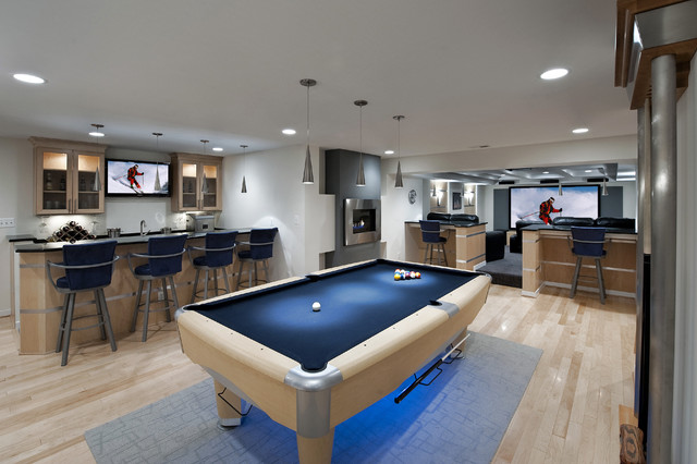 Basement Finishing Ideas Basement Contemporary with Area Rug Bar Barstools