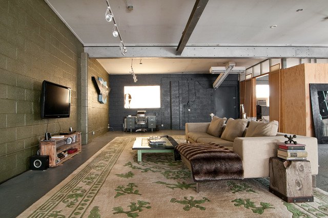 Basement Finishing Ideas Living Room Industrial with Area Rug Cmu Concrete