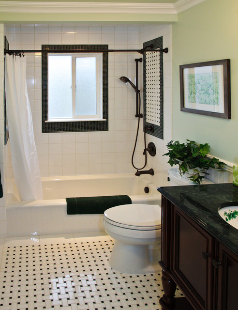 Basket Weave Tile Bathroom Traditional with Bathroom Beige and Black