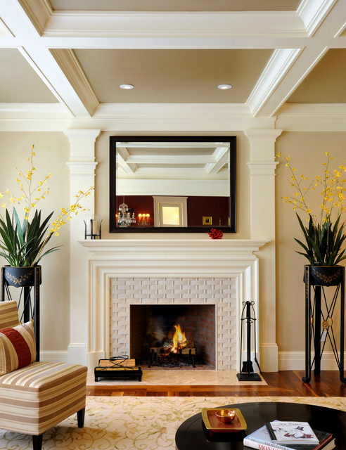 Basket Weave Tile Living Room Transitional with Beams Beige Ceiling Coffer