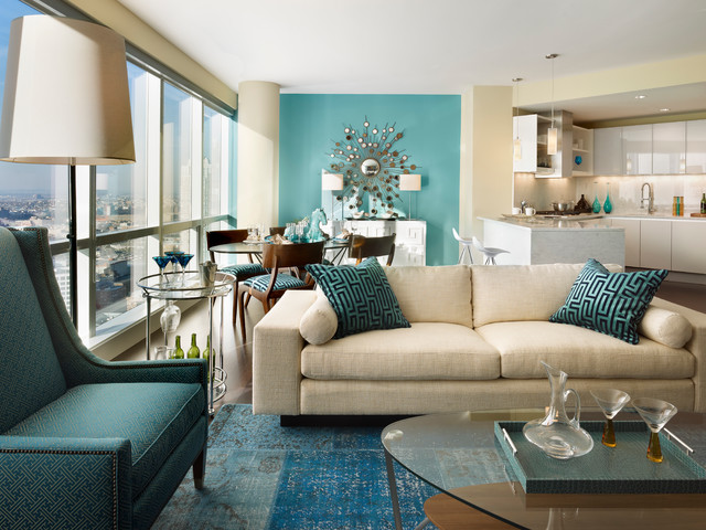 Bassett Mirror Living Room Contemporary with Accent Walls Built In