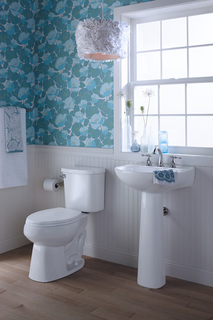 Bath Caddy Bathroom Eclectic with Floral Print Floral Wallpaper