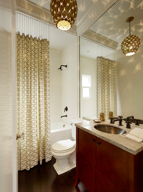 Bathroom Shower Curtains Bathroom Transitional with Contemporary Lighting Flat Panel