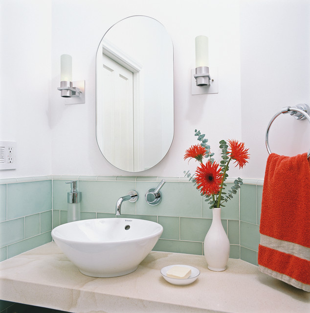 Bathroom Vessel Sinks Bathroom Contemporary with Accent Colors Bath Accessories
