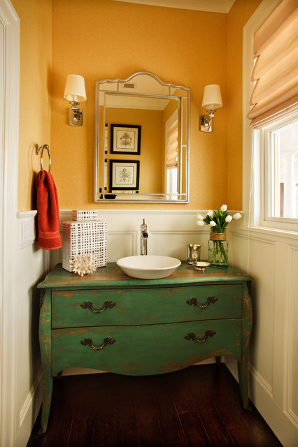 Bathroom Vessel Sinks Powder Room Traditional with Bathroom Mirror Chest Converted